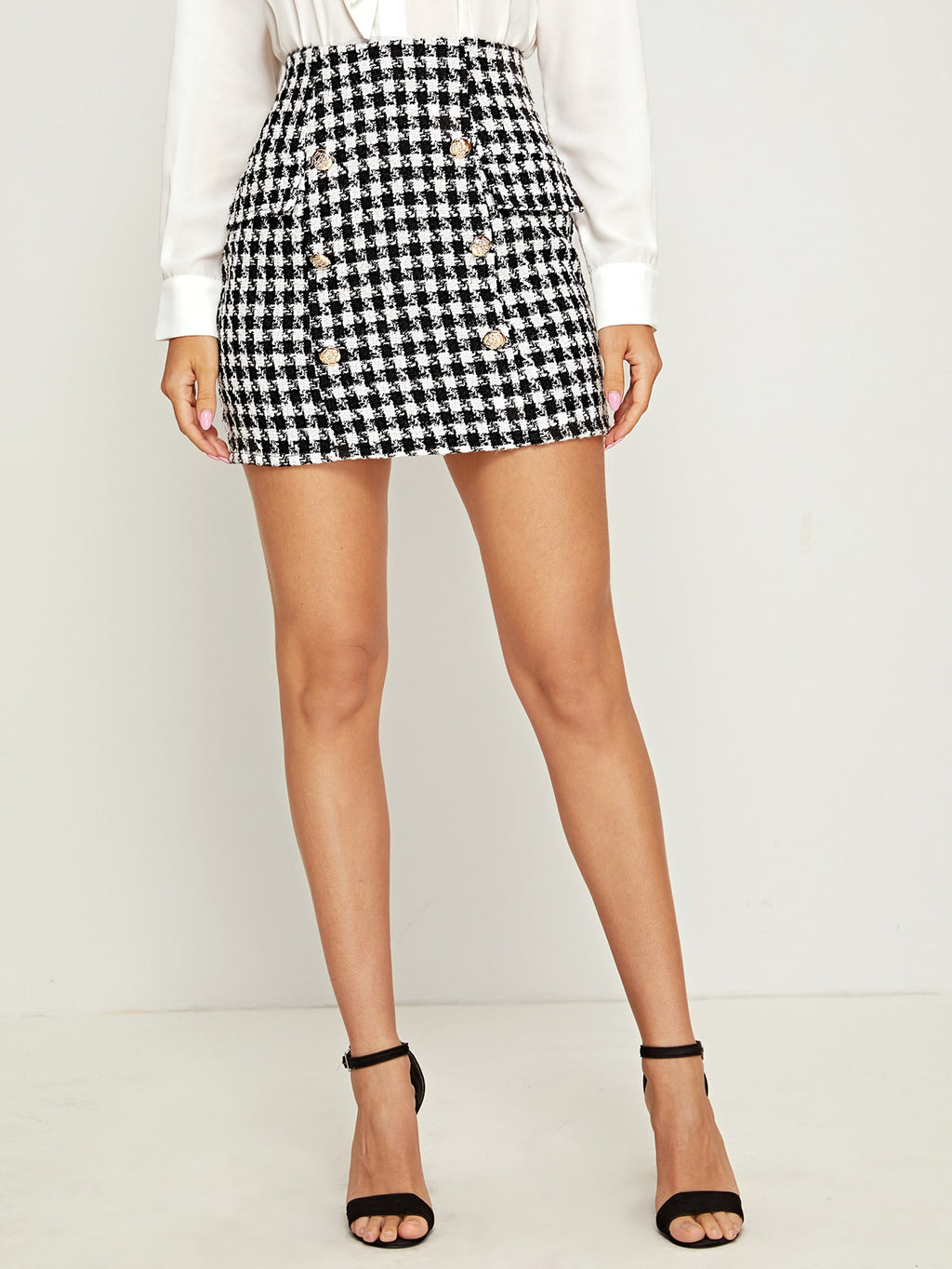 Double Breasted Front Tweed Skirt (4386150154305)