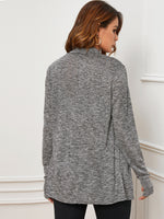 Draped Collar Thumb Hole Marled Coat-Negative Apparel