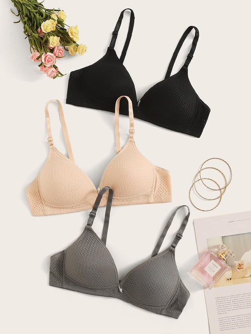 Adjustable Strap Bra Set 3pack FD-Negative Apparel