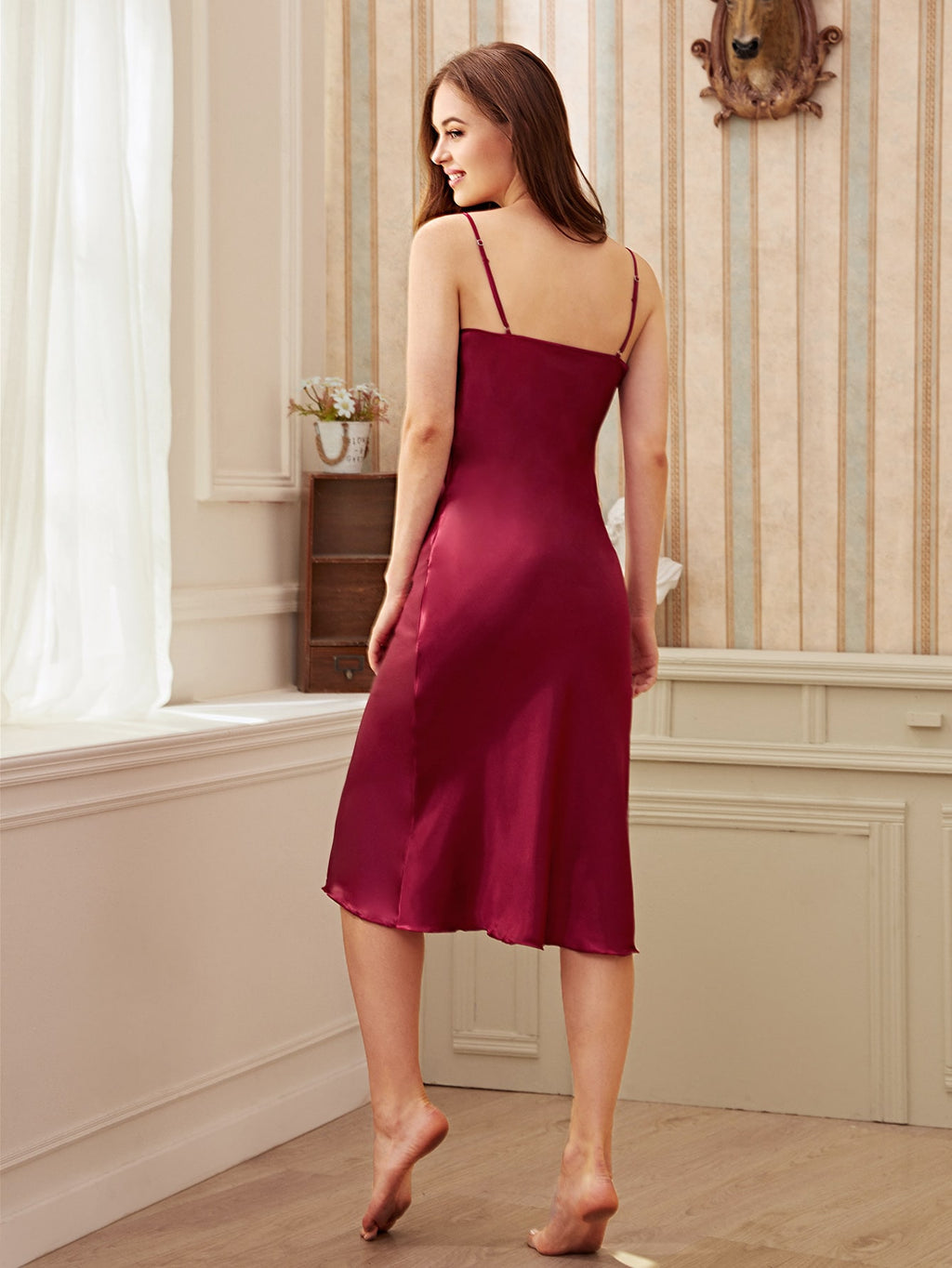 Longline Satin Cami Dress