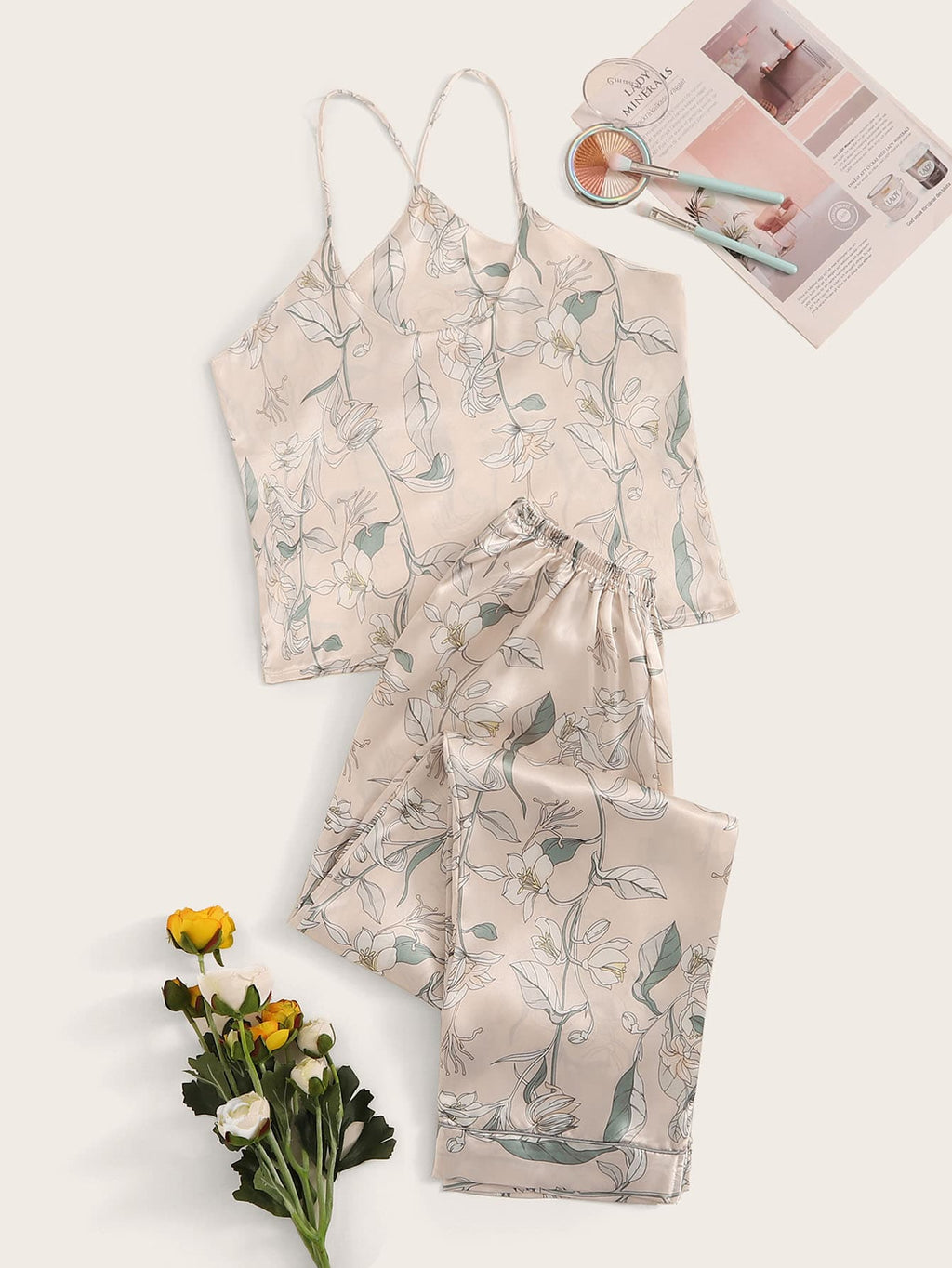 Floral Print Satin Cami & Pants PJ Set