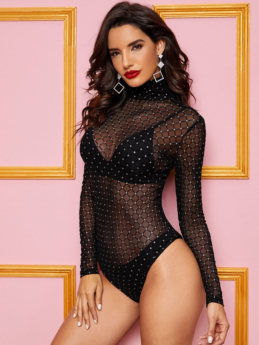 High Neck Sheer Mesh Overlay Bodysuit Without Lingerie (4377967558721)