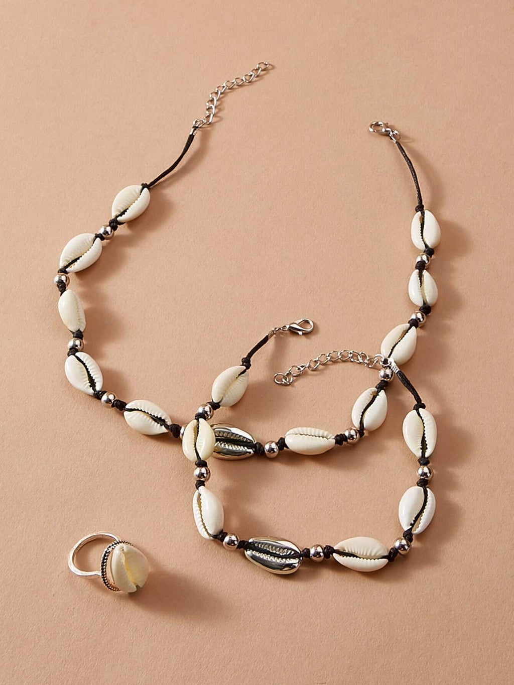 Shell Design Necklace & Bracelet & Ring 3pcs (4249055985734)