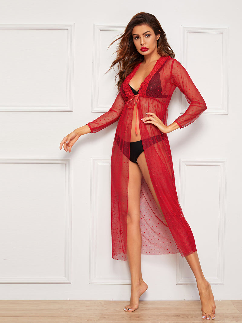 Polka Dot Mesh Floral Lace Robe With Thong-Negative Apparel