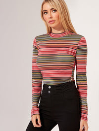 Mock-Neck Striped Top (4396101828673)