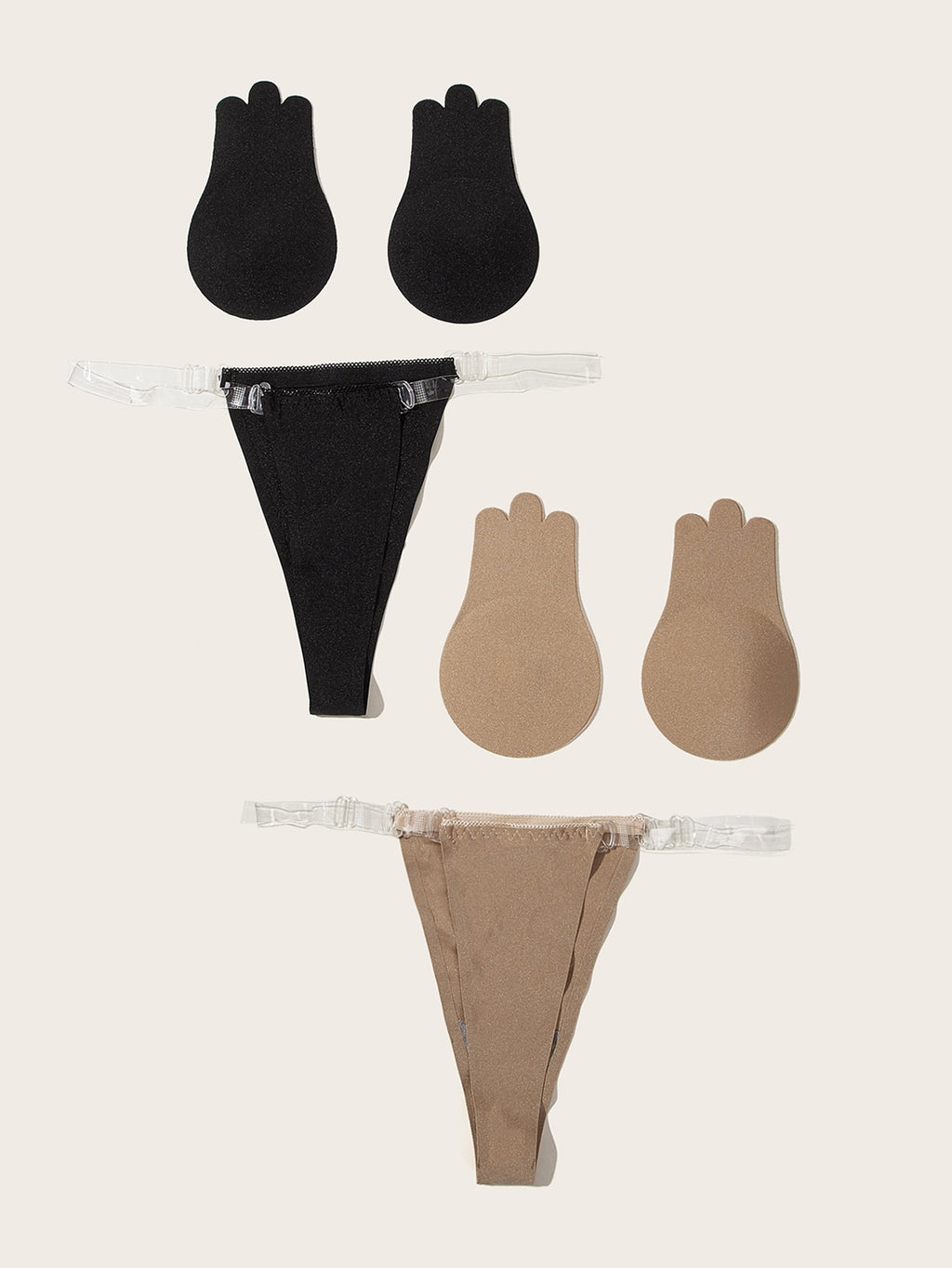 2Pcs Self Adhesive Bra With Thong Lingerie Set (4345158107201)