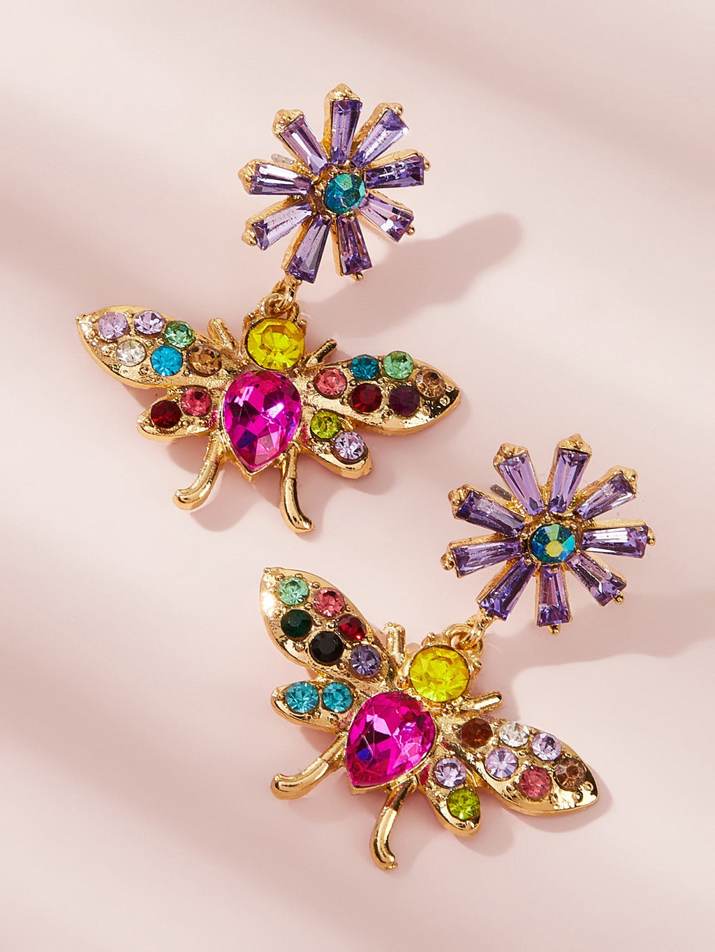 1pair Colorful Gemstone Butterfly Dangle Earrings (4249055559750)
