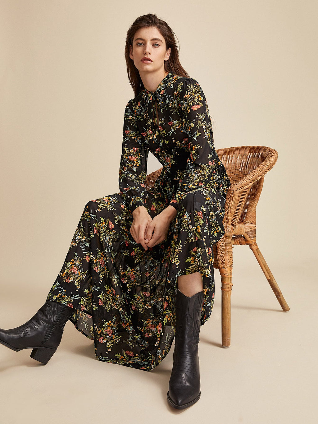 Premium Tie Neck Floral Print Dress (4375767973953)