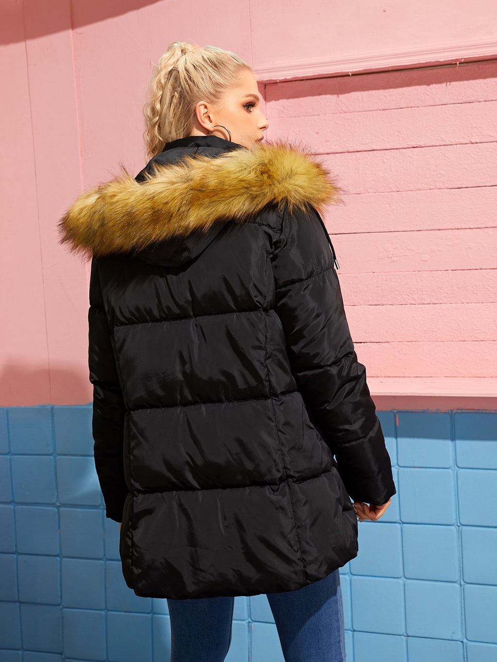 Zip Up Contrast Faux Fur Hooded Puffer Coat (4297066643521)