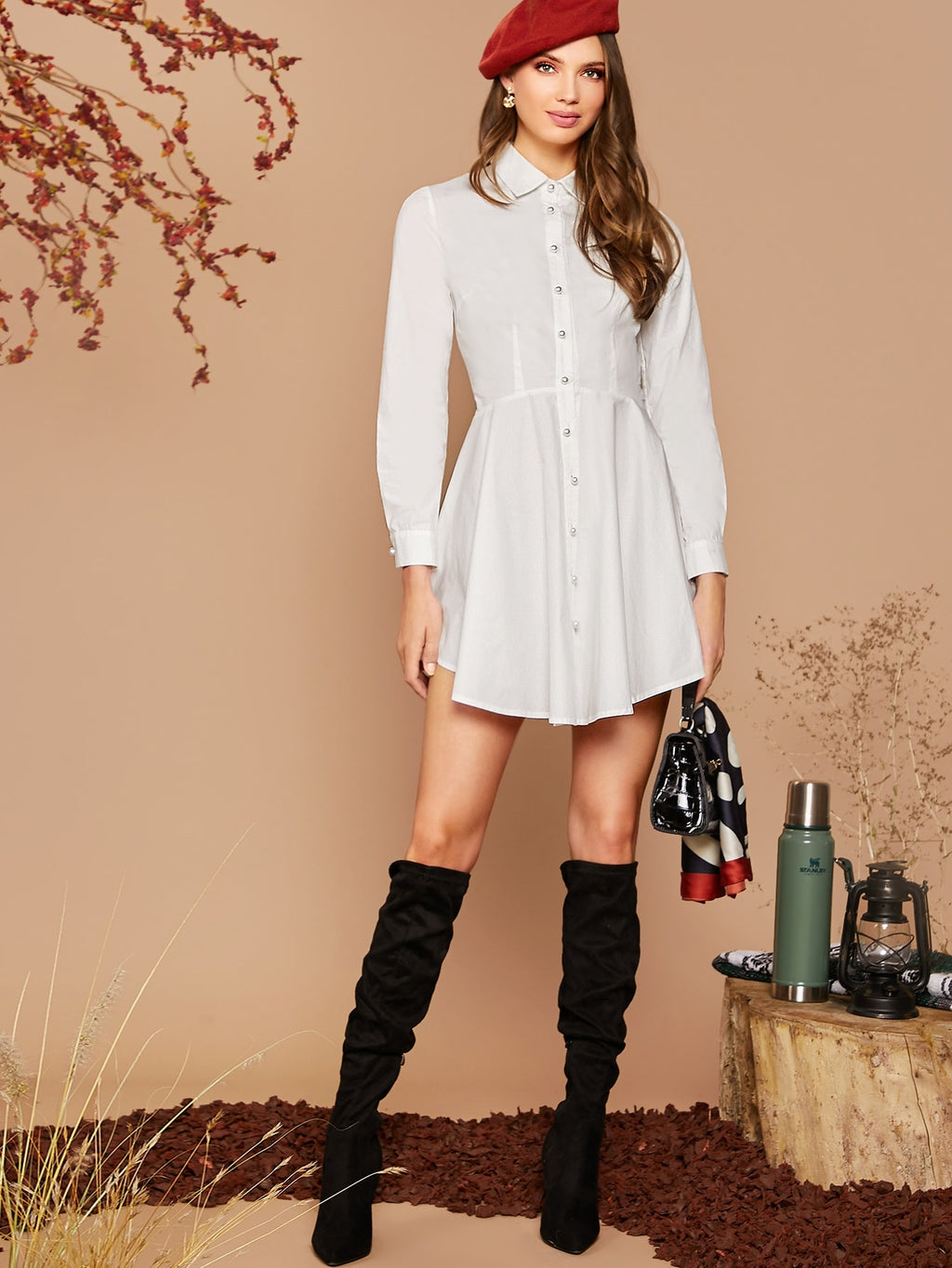 Solid Asymmetrical Hem Flare Shirt Dress (4384953237569)