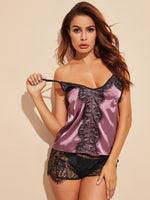 Eyelash Floral Lace Satin Cami With Shorts-Negative Apparel
