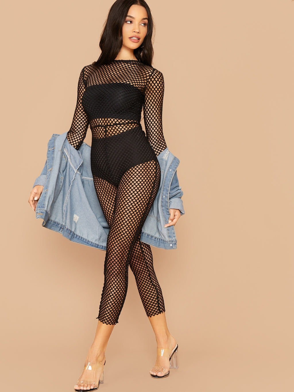 Sheer Fishnet Mesh Skinny Jumpsuit Without Lingerie (4377967001665)