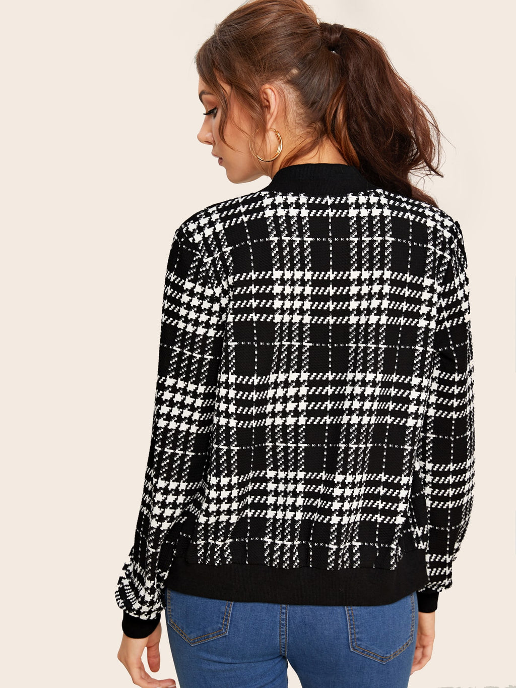 Plaid Zipper Up Bomber Jacket FD