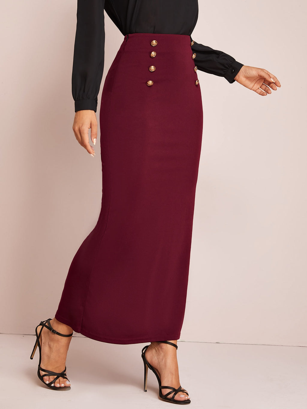 Solid Buttoned Front Maxi Pencil Skirt (4387909369921)