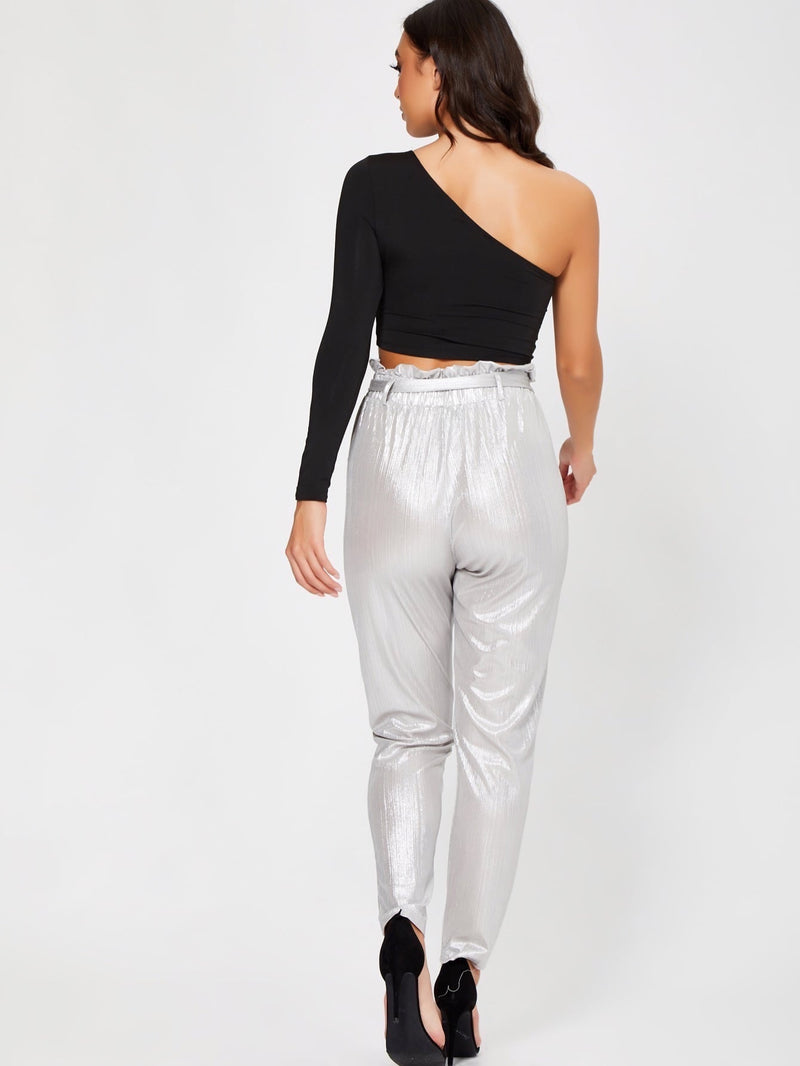 Frilled Waist Metallic Belted Pants-Negative Apparel