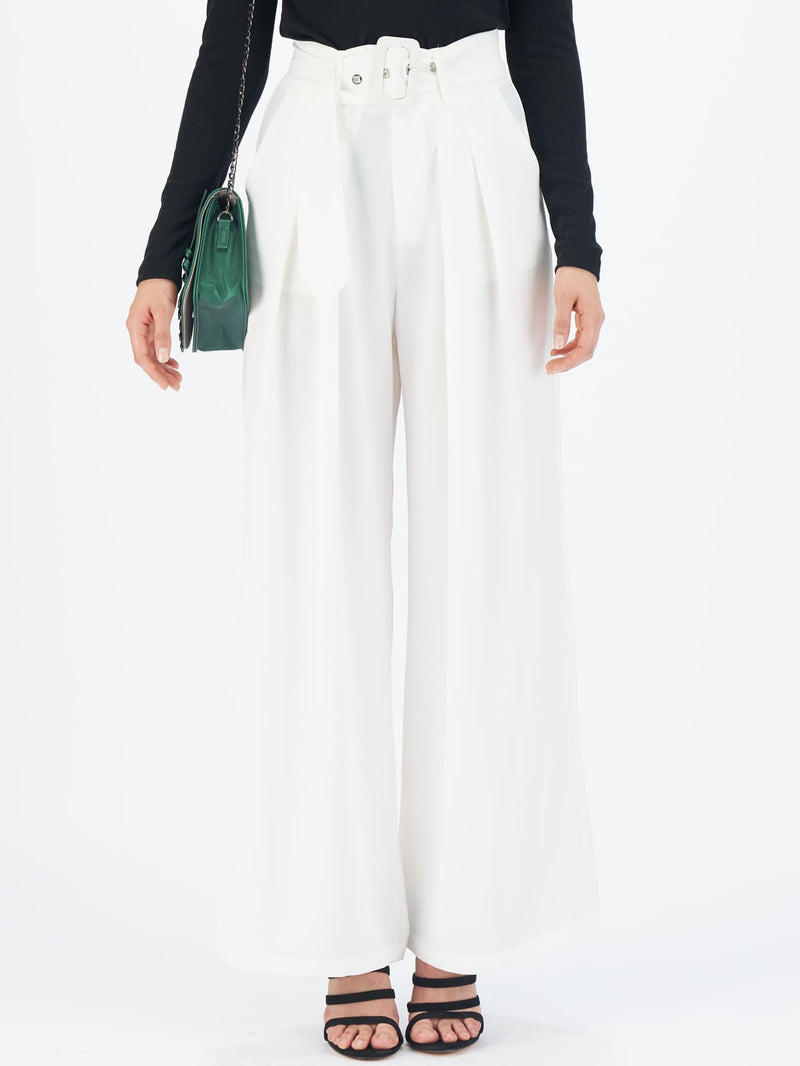Buckle Belted Pleated Detail Wide Leg Pants White-Negative Apparel