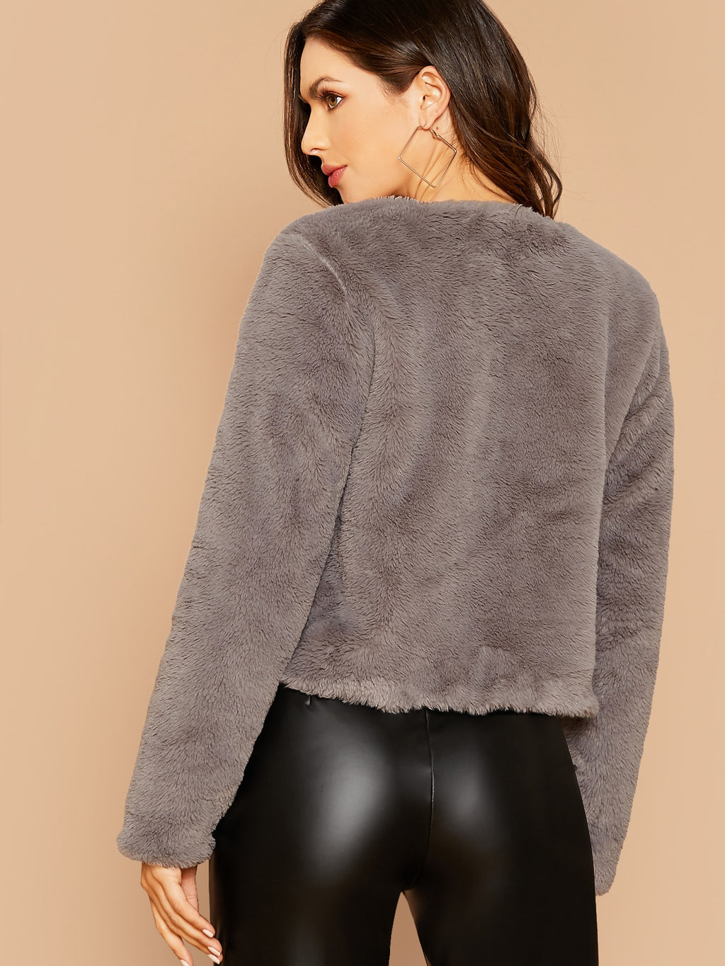Open Front Faux Fur Coat FD