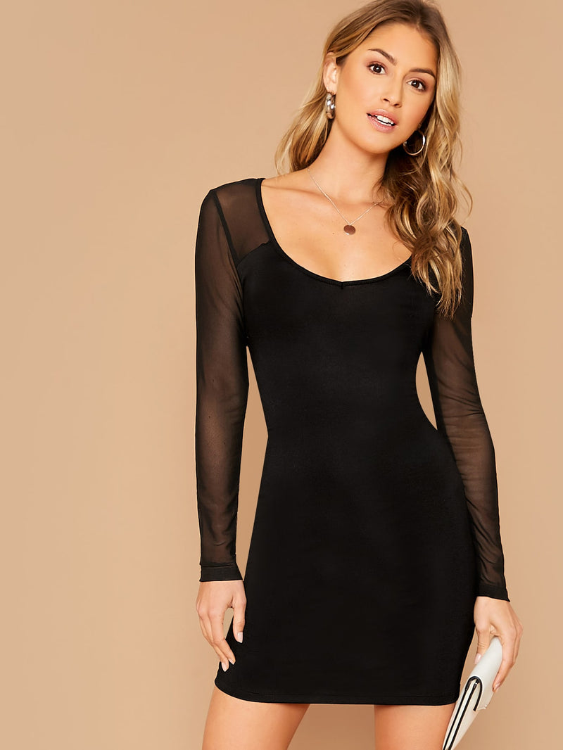 Scoop Neck Sheer Mesh Sleeve Bodycon Dress (4375935320129)