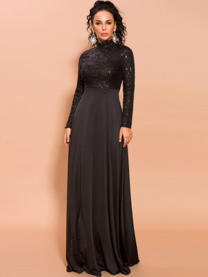 Missord Mock-neck Sequin Fit & Flare Prom Dress (4393230729281)