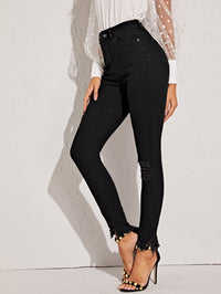 Raw Hem Ripped Skinny Jeans Without Belt (4375928799297)