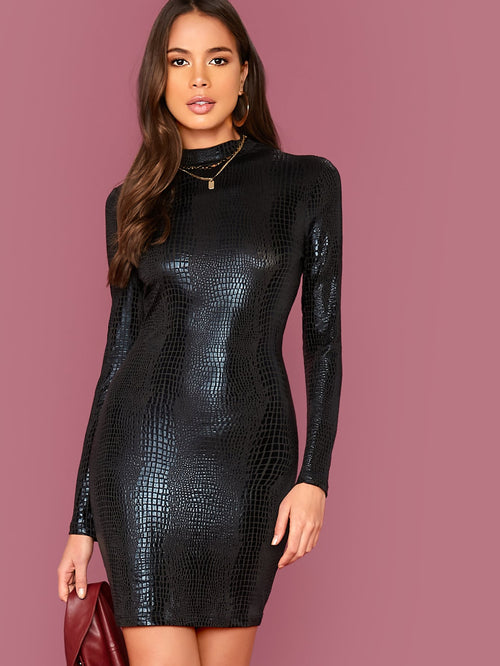 Mock Neck Crocodile Embossed Bodycon Dress-Negative Apparel