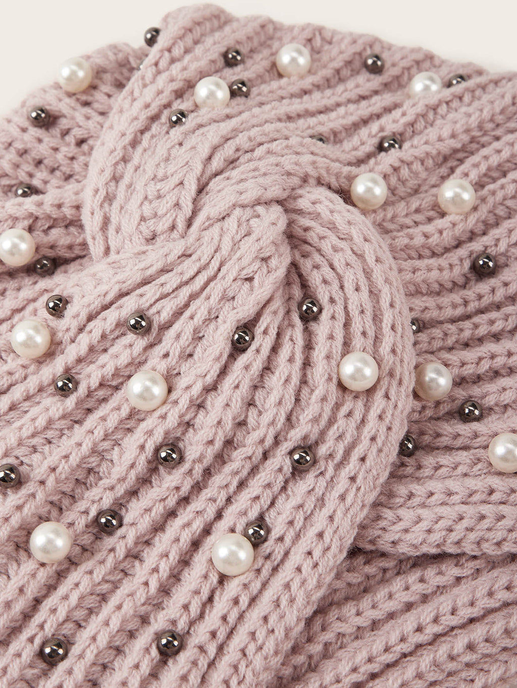 Faux Pearl & Bead Decor Turban Hat (4352931856449)