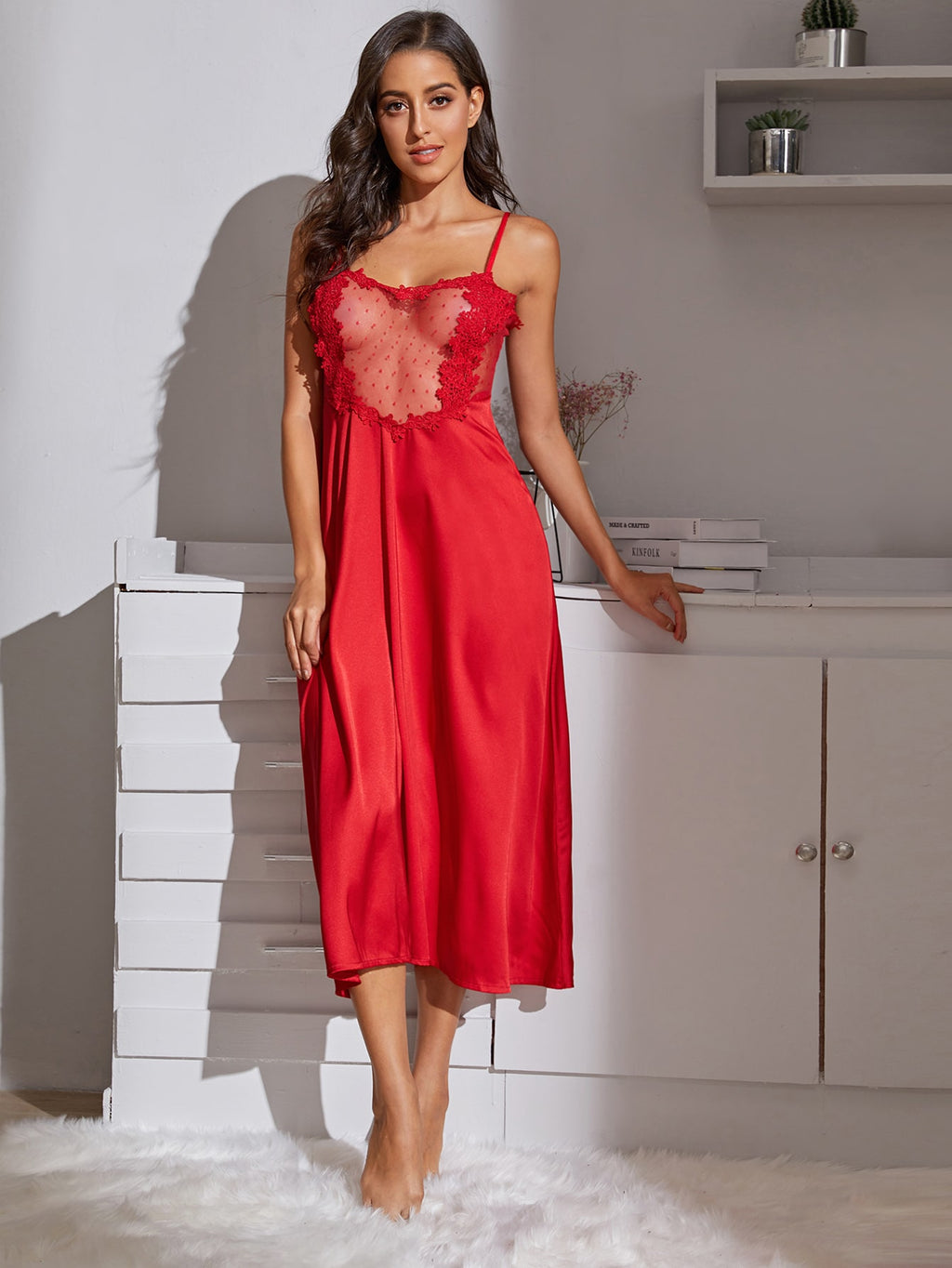 Contrast Lace Satin Slips With Thong (4405401419841)