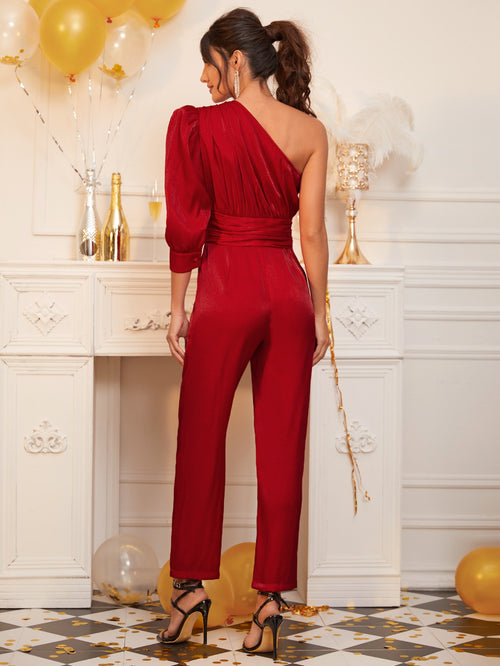 One Shoulder Gigot Sleeve Ruched Waist Silky Jumpsuit-Negative Apparel