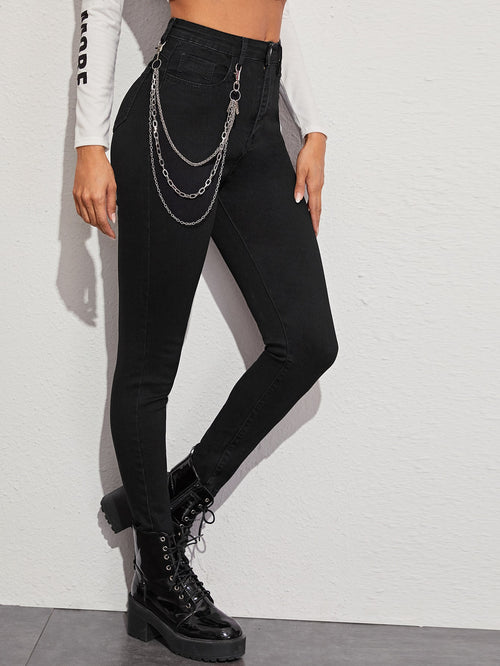 Chain Detail Solid Skinny Jeans-Negative Apparel