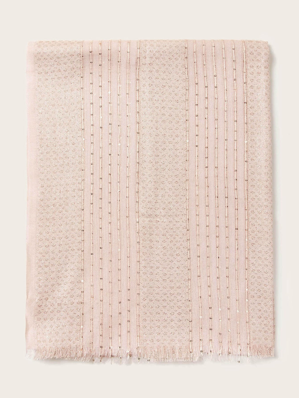 Sequin Decor Raw Hem Scarf (4352929497153)