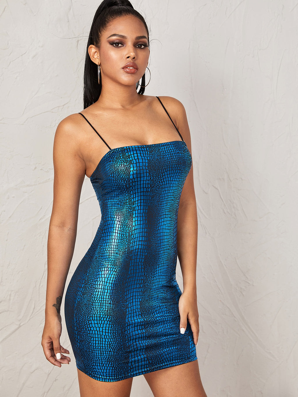 Crocodile Embossed Bodycon Cami Dress FD
