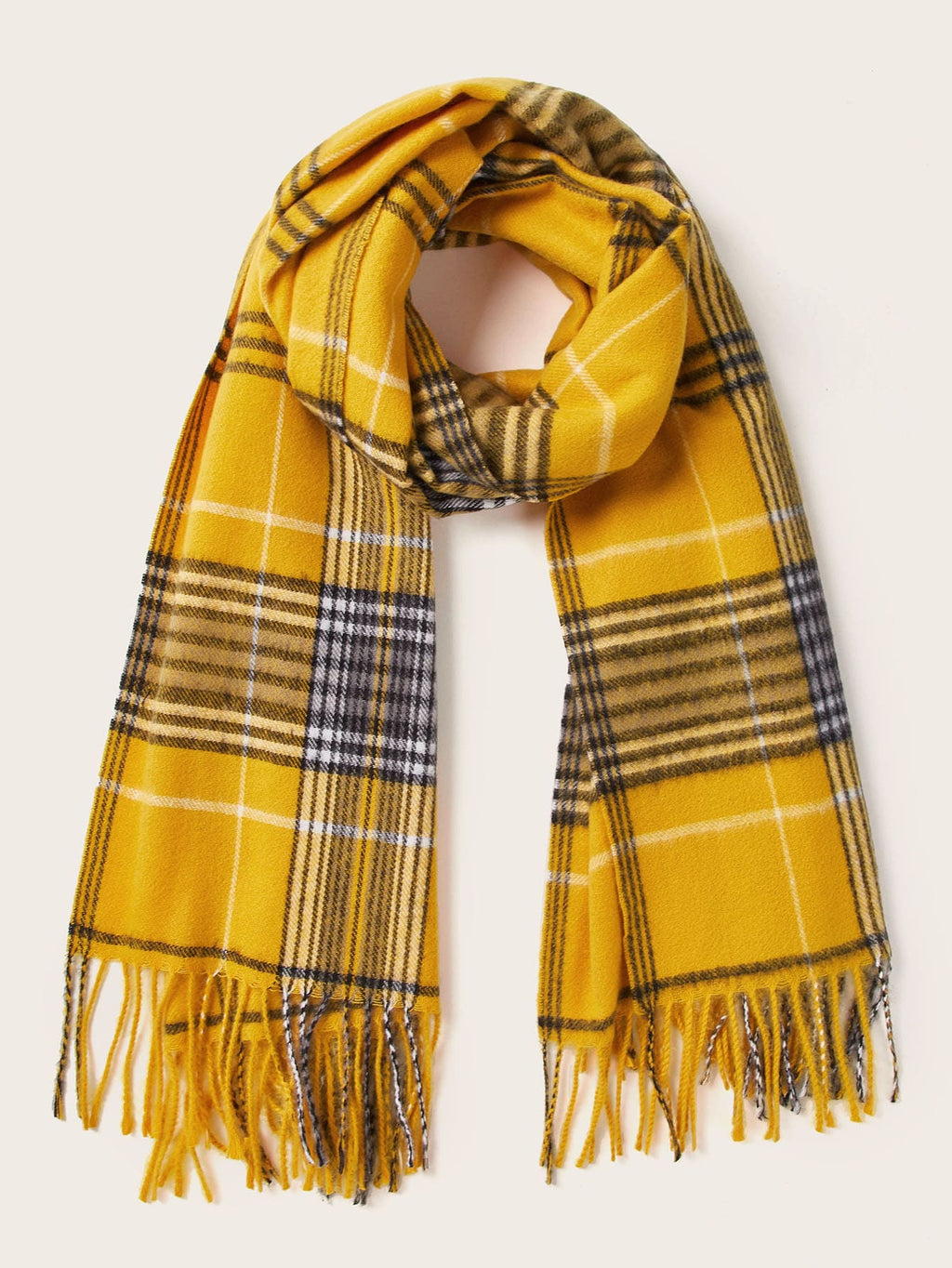 Plaid Pattern Raw Hem Scarf (4352930742337)