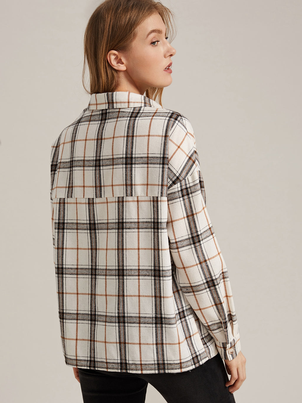 Collared Pocket Front Plaid Blouse (4442084245569)