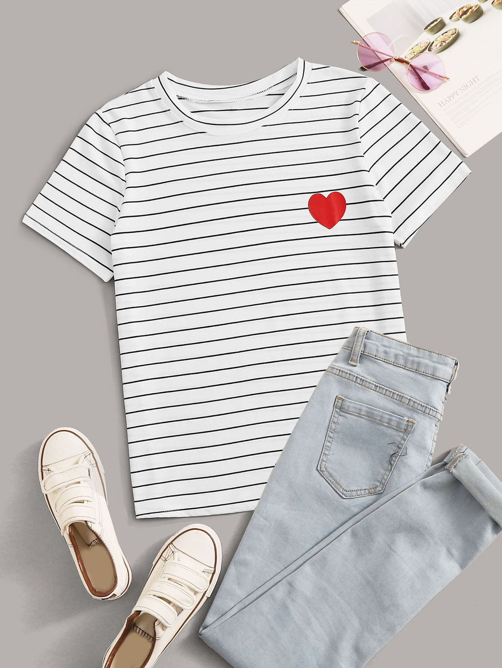 Striped Heart Print Tee (4384804175937)