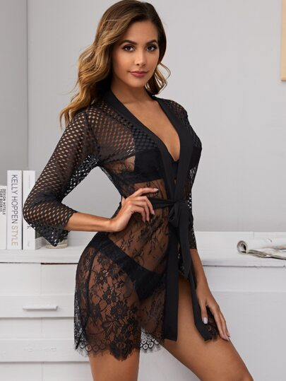 Floral Lace Belted Robe & Thong Without Bralette (4413334126657)