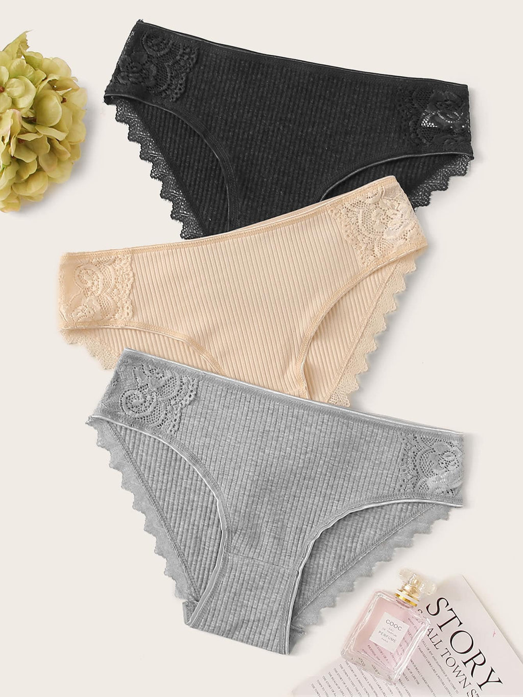 3pack Ribbed Lace Trim Panty Set (4405399945281)