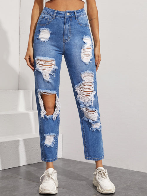 High Waisted Ripped Straight Leg Jeans Without Bag-Negative Apparel