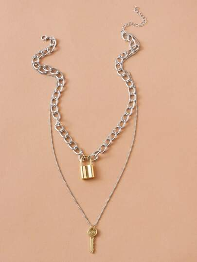 1pc Lock & Key Charm Layered Chain Necklace (4426566139969)
