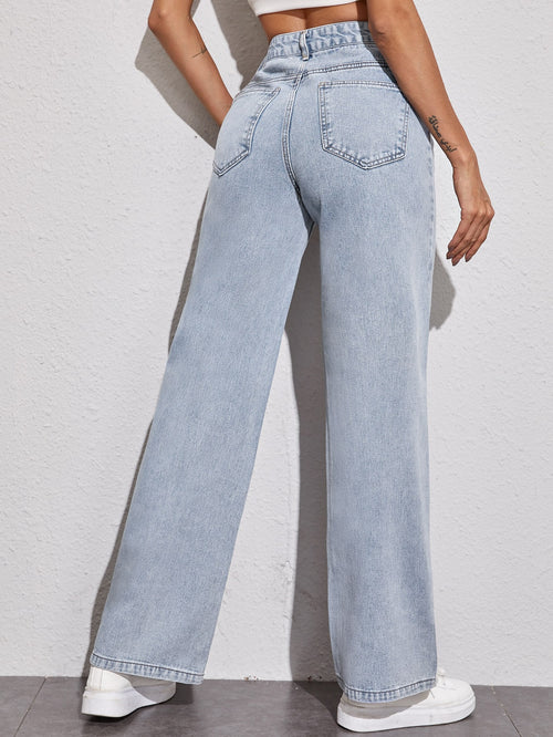 Acid Wash High-Rise Wide Leg Jeans Light Wash-Negative Apparel