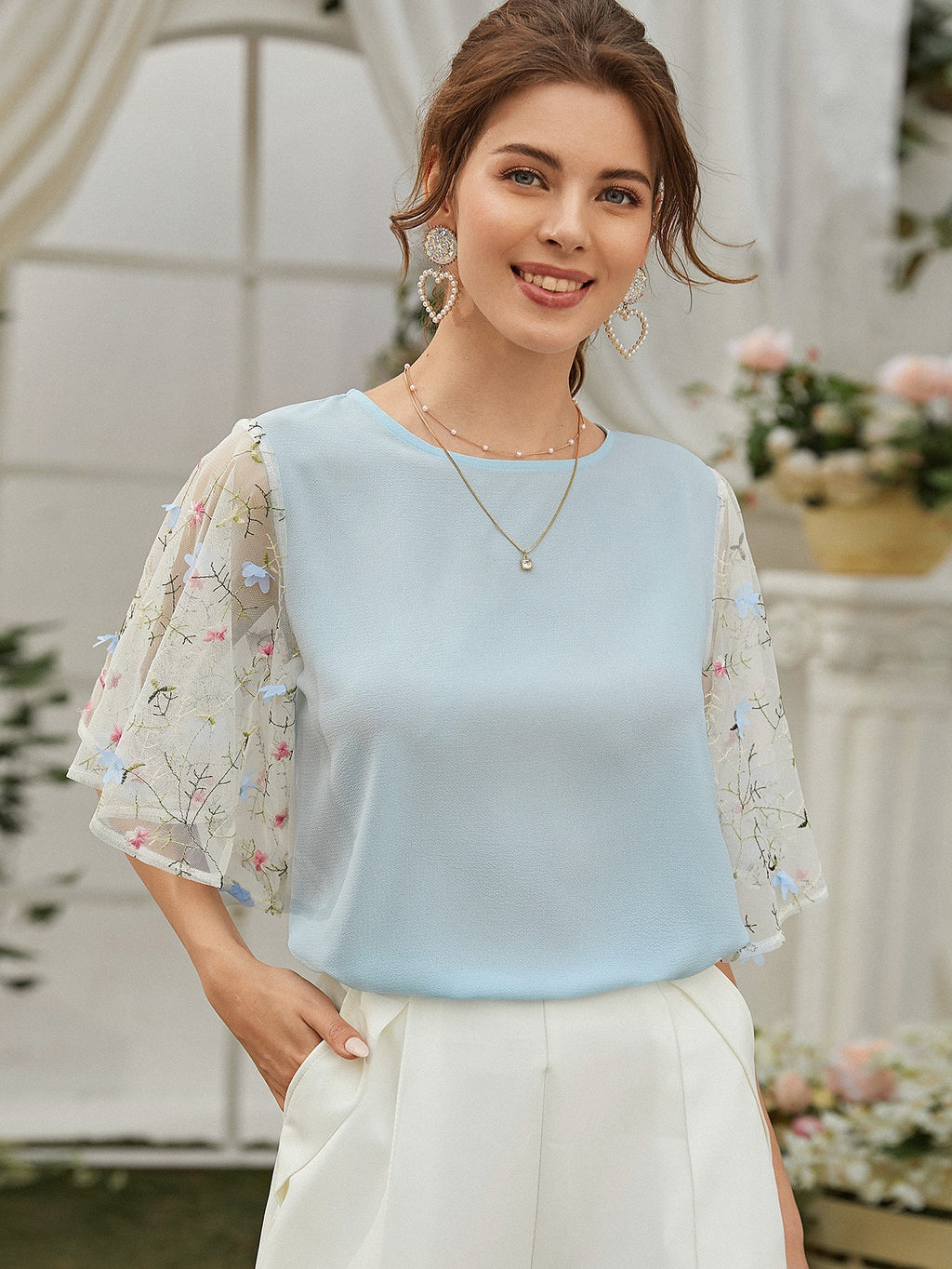 Contrast Embroidered Mesh Sleeve Blouse (4442211024961)