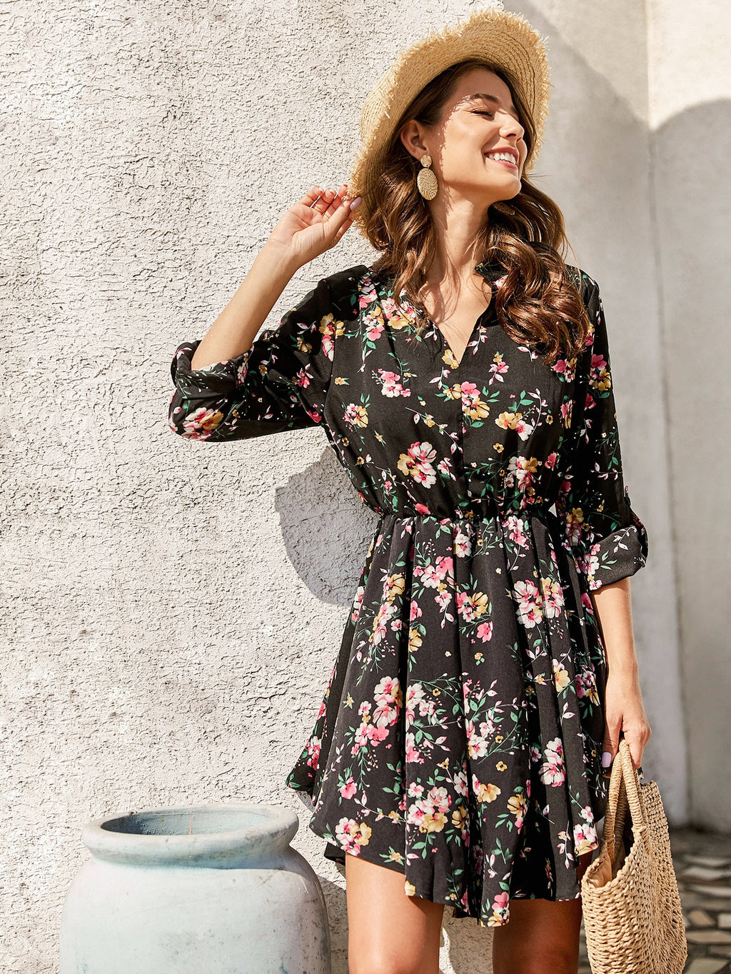 Notch Neck Floral Print A-line Dress (4384936198209)