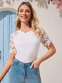 Contrast Lace Sleeve Fitted Tee (4399948562497)