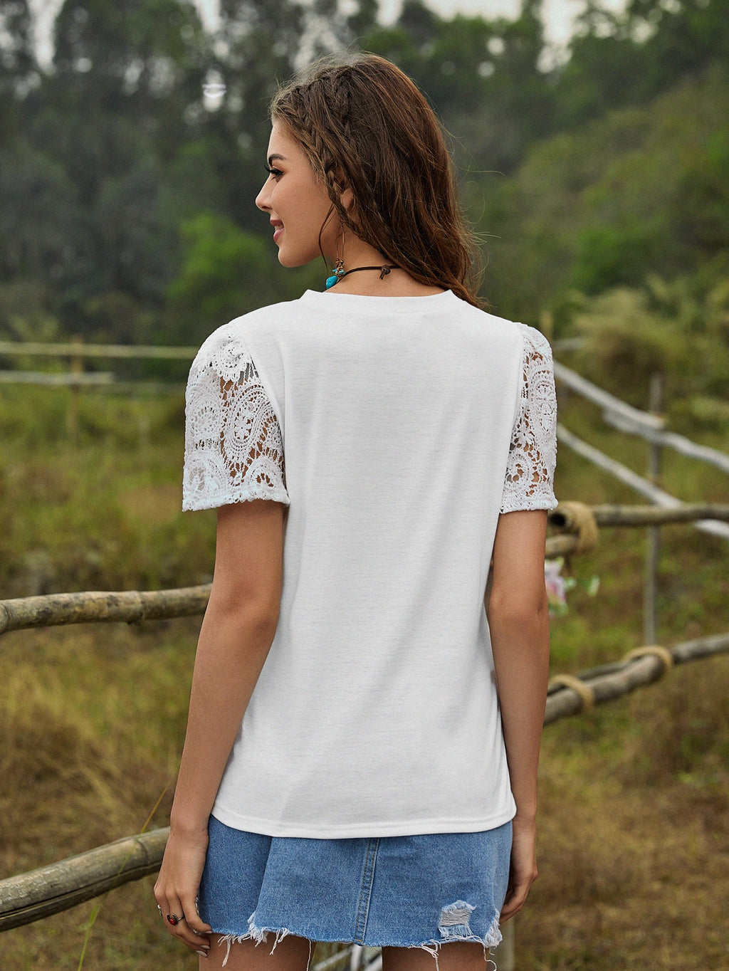 Contrast Guipure Lace Solid Tee (4399949185089)