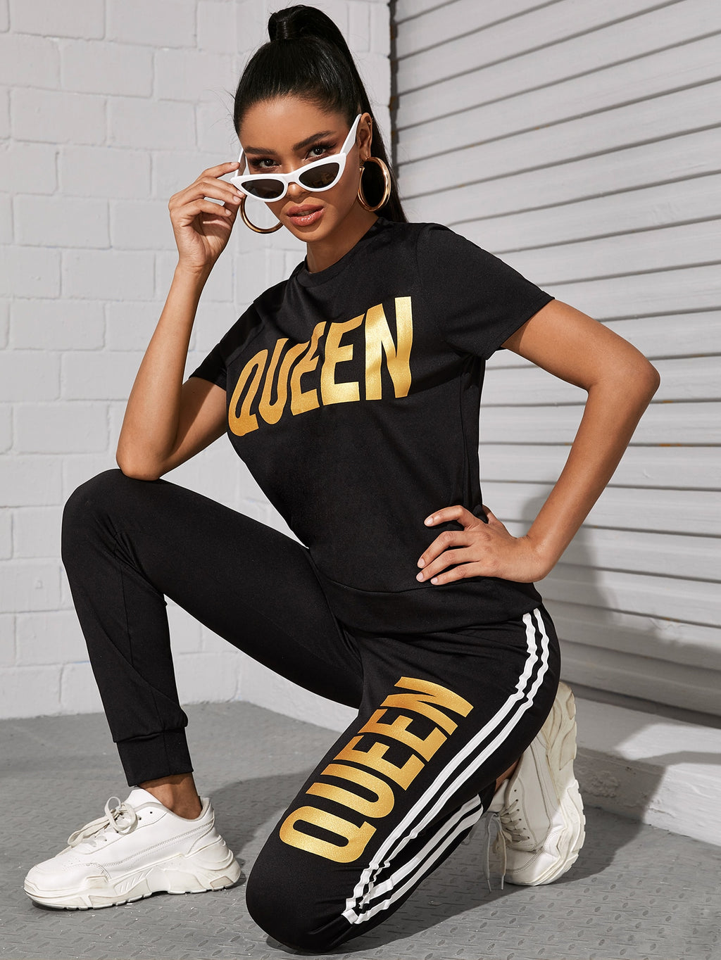 Letter Graphic Tee With Side Stripe Joggers