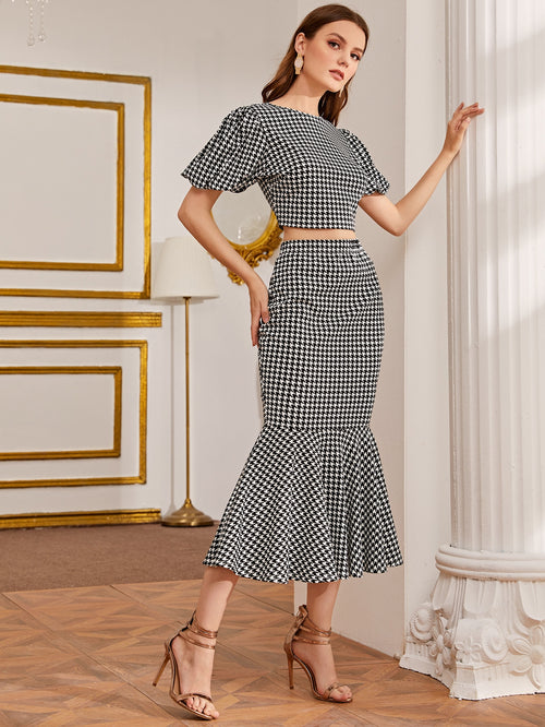 Puff Sleeve Houndstooth Crop Top and Fishtail Hem Skirt Set-Negative Apparel