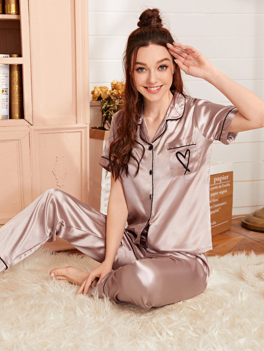 Heart Embroidery Piping Trim Satin PJ Set