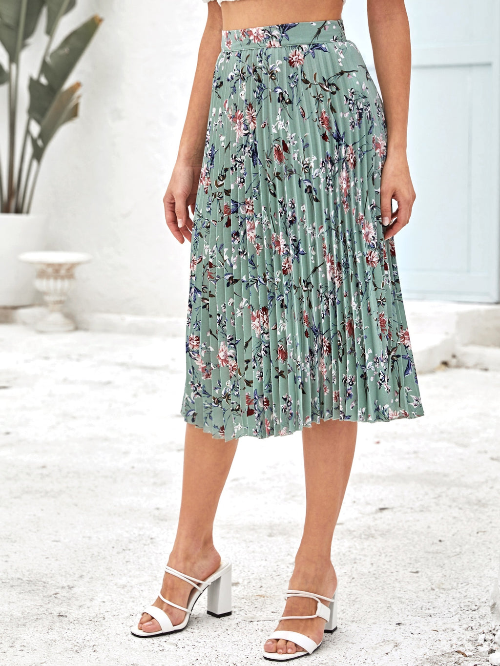 Floral Print Pleated Skirt (4442216333377)