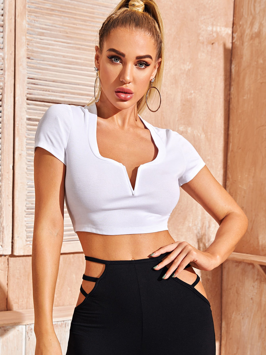 Notch Neck Rib-knit Crop Top