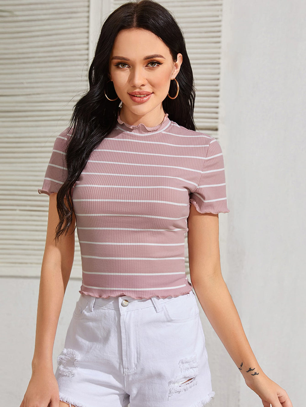 Lettuce Trim Rib-knit Striped Tee