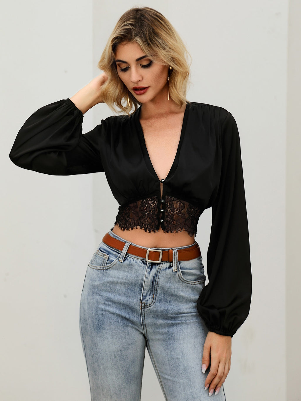 Double Crazy Button Front Lace Trim Satin Crop Top
